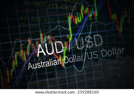 Data analyzing in foreign market: the charts and quotes on display. Analytics in pairs AUD / USD - stock photo