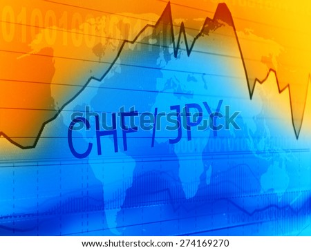 Data analyzing in foreign market: the charts and quotes on display. Analytics in pairs CHF/JPY  - stock photo