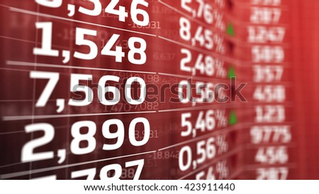 Data analyzing in forex market: quotes on a red display. Abstraction - stock photo