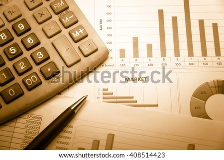 Data analyzing in forex market with magnifying glass, pen and calculator : the charts and summary info on paper. Charts of financial instruments for technical analysis.