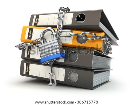 Data and privacy security. Information protection. File folder and chain with lock. 3d - stock photo