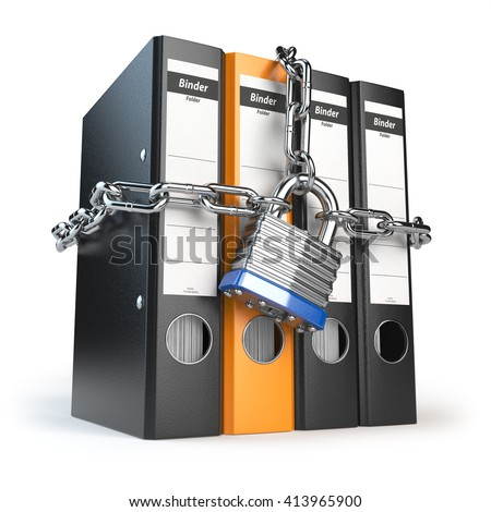 Data and privacy security. Information protection. File folder and chain with lock. 3d illustration - stock photo