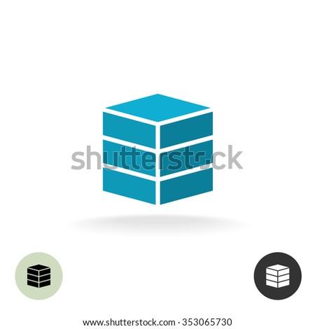 Data base logo. Simple geometric 3d box symbol. - stock photo