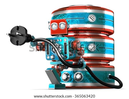 Data base with electric plug. Technology concept. Isolated over white. Contains clipping path - stock photo