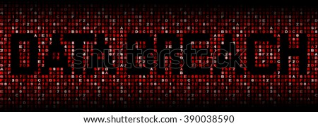 Data Breach text on hex code illustration - stock photo