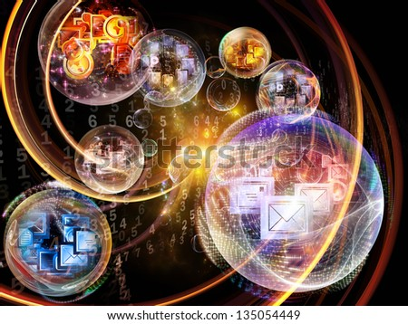Data Bubble series. Composition of telecommunication symbols and design elements on the subject of communication and information technologies