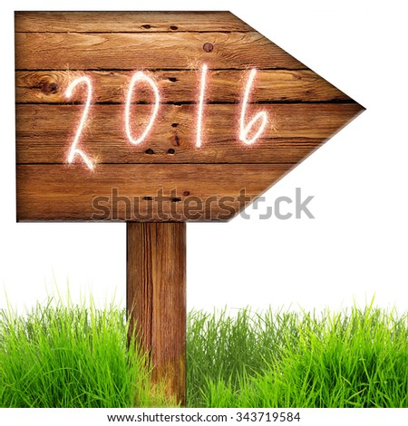 Data 2016 burned on wooden sign against whithe background - stock photo