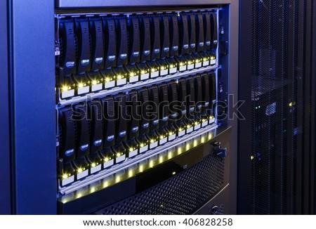 data center disk storage perspective closeup - stock photo