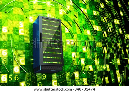 Data center, network server, internet hosting and computer technology concept, server rack on green background with digital code - stock photo