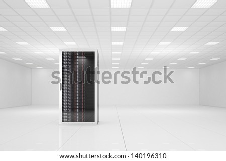 Data center with a single rack and copy space - stock photo