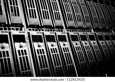 Data center with hard drives - stock photo