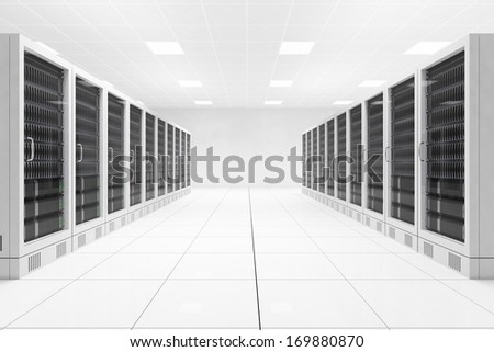 Data center with two rows of computers in white room