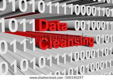 Data cleansing in the form of binary code, 3D illustration
