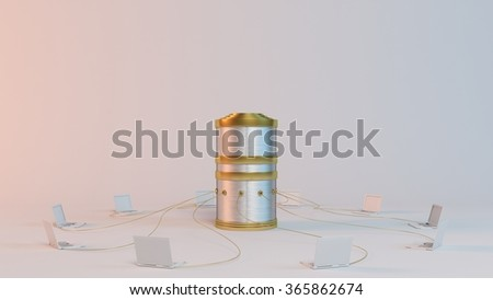 Data computer network with laptops wired to a huge server - stock photo