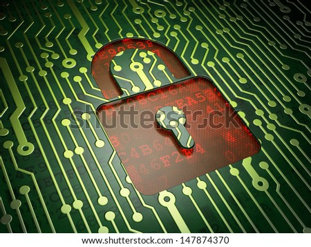 Data concept: circuit board with Closed Padlock icon, 3d render