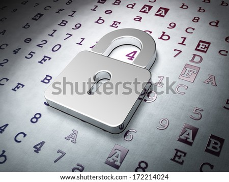 Data concept:  Closed Padlock on Hexadecimal Code background, 3d render - stock photo