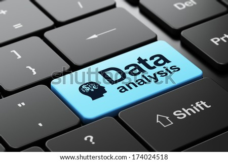 Data concept: computer keyboard with Head With Finance Symbol icon and word Data Analysis, selected focus on enter button, 3d render - stock photo