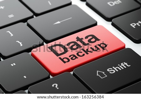 Data concept: computer keyboard with word Data Backup, selected focus on enter button background, 3d render - stock photo