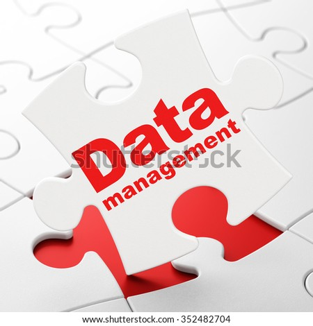 Data concept: Data Management on White puzzle pieces background, 3d render - stock photo