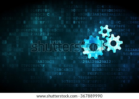 Data concept: Gears on digital background