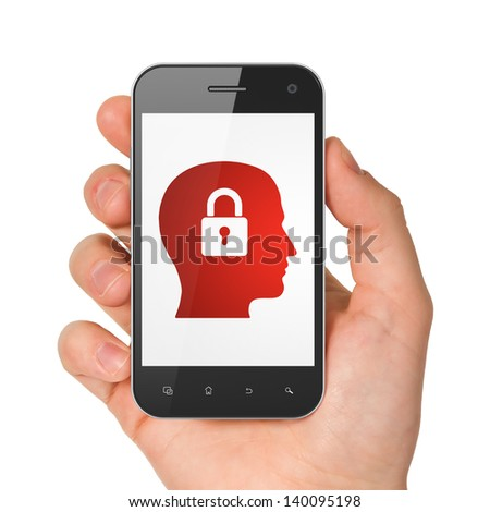 Data concept: hand holding smartphone with Head Whis Padlock on display. Generic mobile smart phone in hand on White background. - stock photo