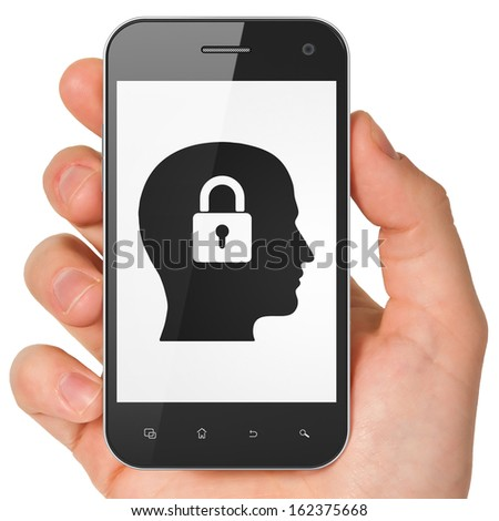 Data concept: hand holding smartphone with Head With Padlock on display. Mobile smart phone on White background, 3d render - stock photo