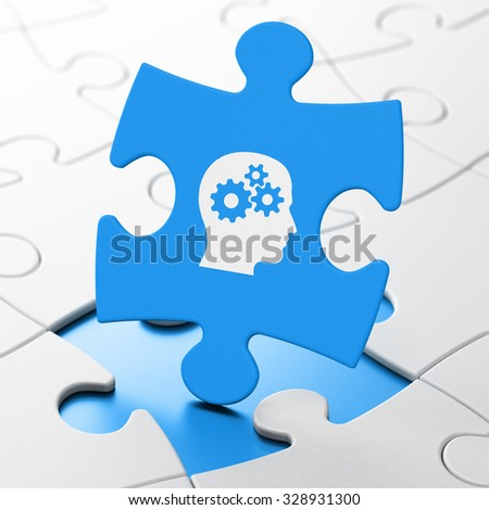 Data concept: Head With Gears on Blue puzzle pieces background, 3d render - stock photo