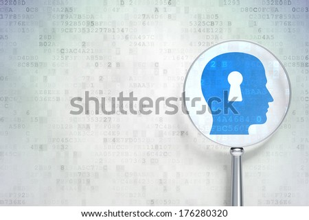 Data concept: magnifying optical glass with Head With Keyhole icon on digital background, empty copyspace for card, text, advertising, 3d render - stock photo