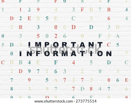 Data concept: Painted black text Important Information on White Brick wall background with Hexadecimal Code, 3d render - stock photo