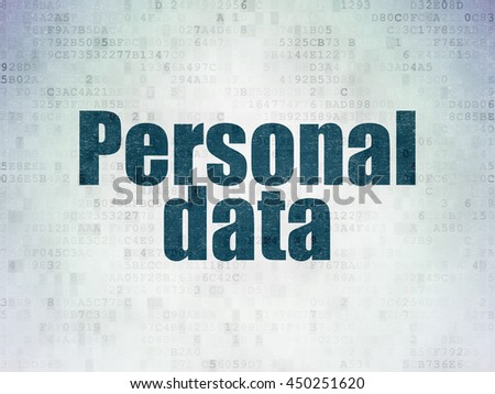 Data concept: Painted blue word Personal Data on Digital Data Paper background - stock photo