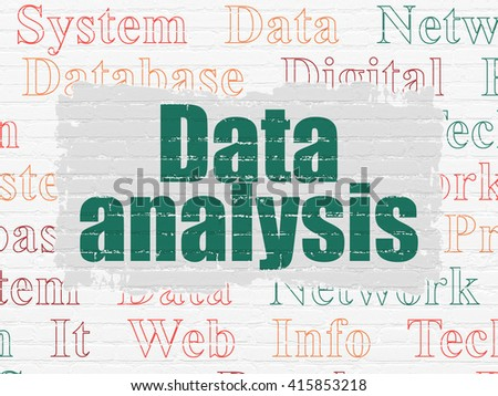 Data concept: Painted green text Data Analysis on White Brick wall background with  Tag Cloud