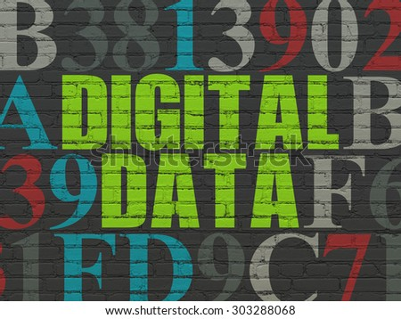 Data concept: Painted green text Digital Data on Black Brick wall background with Hexadecimal Code, 3d render