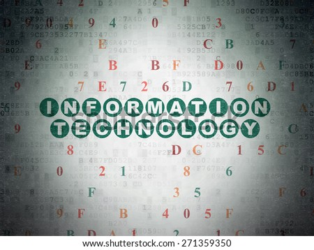 Data concept: Painted green text Information Technology on Digital Paper background with Hexadecimal Code, 3d render - stock photo