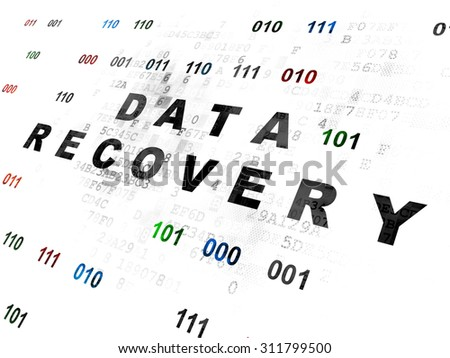 Data concept: Pixelated black text Data Recovery on Digital wall background with Binary Code - stock photo