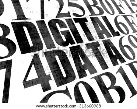 Data concept: Pixelated black text Digital Data on Digital wall background with Hexadecimal Code - stock photo