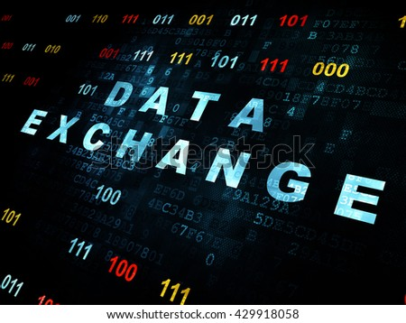 Data concept: Pixelated blue text Data Exchange on Digital wall background with Binary Code - stock photo