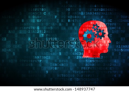 Data concept: pixelated Head With Gears icon on digital background, empty copyspace for card, text, advertising, 3d render