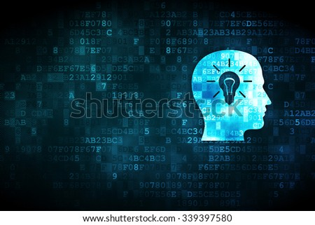 Data concept: pixelated Head With Light Bulb icon on digital background, empty copyspace for card, text, advertising