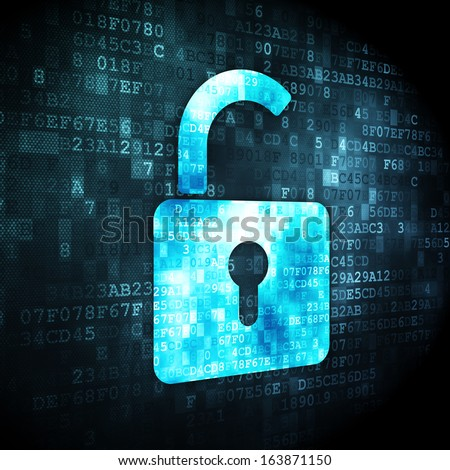 Data concept: pixelated Opened Padlock icon on digital background, 3d render - stock photo