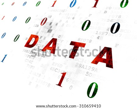 Data concept: Pixelated red text Data on Digital wall background with Binary Code - stock photo