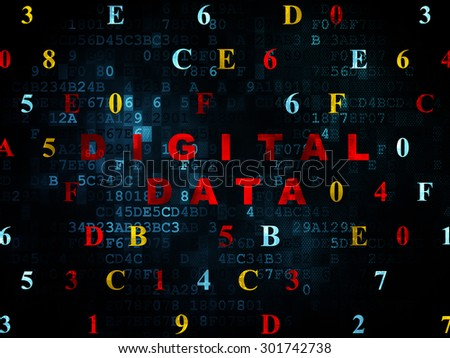 Data concept: Pixelated red text Digital Data on Digital wall background with Hexadecimal Code, 3d render - stock photo