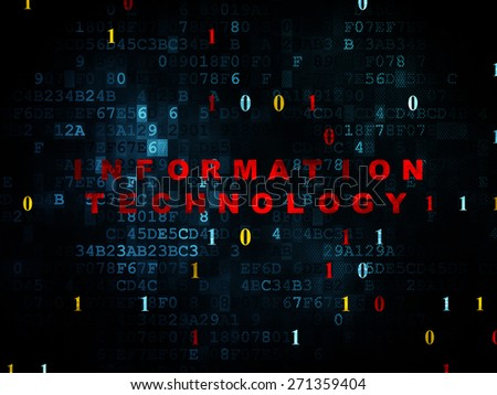 Data concept: Pixelated red text Information Technology on Digital wall background with Binary Code, 3d render - stock photo