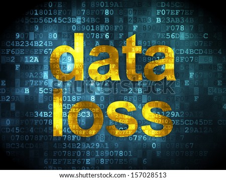 Data concept: pixelated words Data Loss on digital background, 3d render