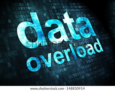 Data concept: pixelated words Data Overload on digital background, 3d render - stock photo