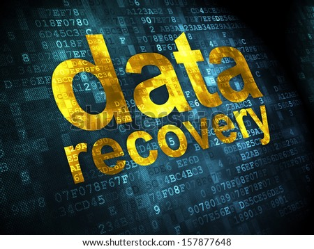Data concept: pixelated words Data Recovery on digital background, 3d render - stock photo