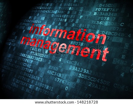Data concept: pixelated words Information Management on digital background, 3d render - stock photo