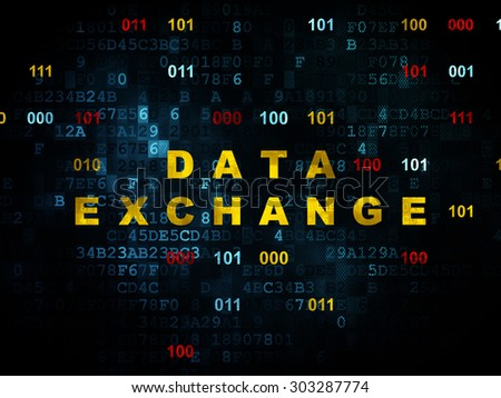 Data concept: Pixelated yellow text Data Exchange on Digital wall background with Binary Code, 3d render - stock photo