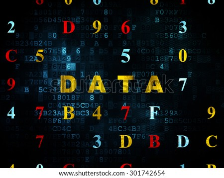Data concept: Pixelated yellow text Data on Digital wall background with Hexadecimal Code, 3d render - stock photo