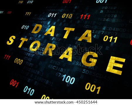 Data concept: Pixelated yellow text Data Storage on Digital wall background with Binary Code - stock photo