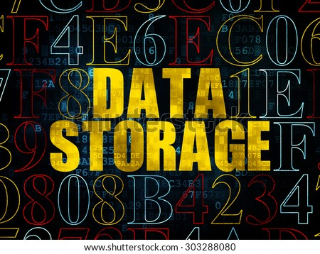 Data concept: Pixelated yellow text Data Storage on Digital wall background with Hexadecimal Code, 3d render - stock photo